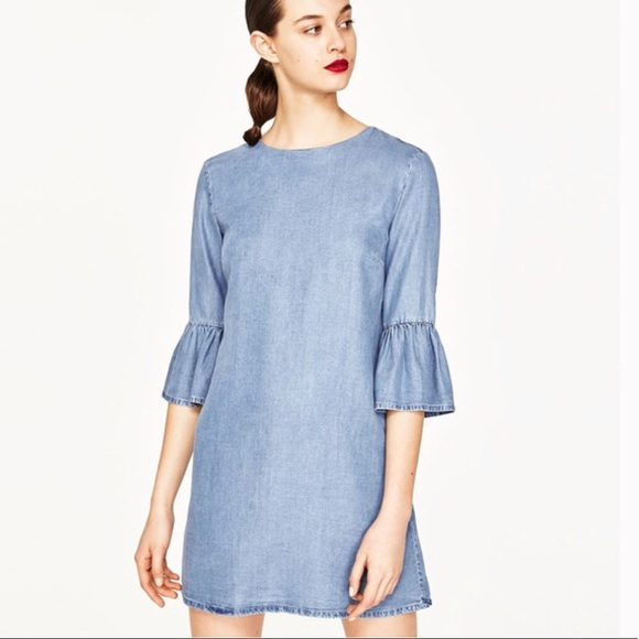 da3dcab2 Zara Dresses | Bell Sleeve Denim Dress | Poshmark
